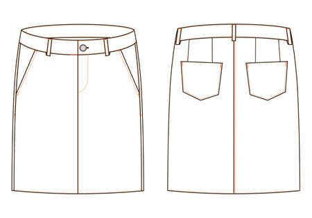 Women skirt isolated vector, front and back