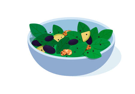 Vegan salad bowl vector illustration. Vegetarian , organic food, healthy food