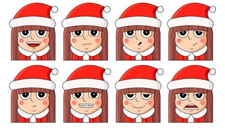 Cute characters with different emotions, vector illustration. Templates for Christmas and New Year. Çizim