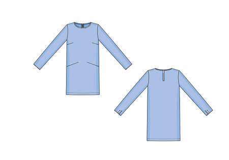 Vector illustration of dress. Front and back views of clothing.
