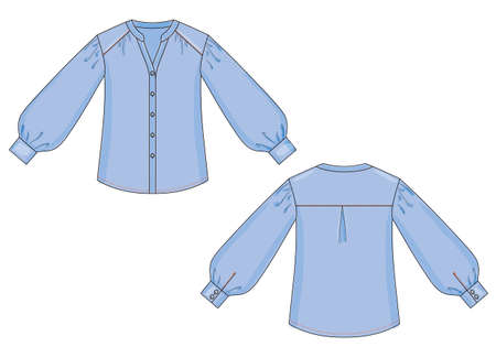 Blouse fashion sketch template with a shirt type sleeves with cuffs and standing collar. Front and back views of clothing. Vector Illustration