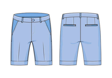 Vector technical drawing of shorts with cuffs. Front and back views of denim shorts. Technical sketch of clothing with stitches. Fashion Illustration, Çizim