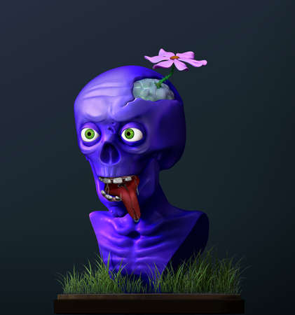 3D render funny cartoon zombie. Crazy halloween character.