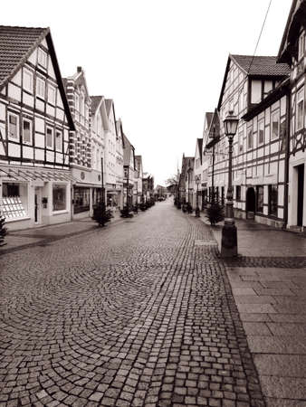 Old street with half-timbered framework in Buckeburg, Germany.