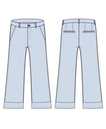 Technical sketch of woman jeans with knee-length flared pants