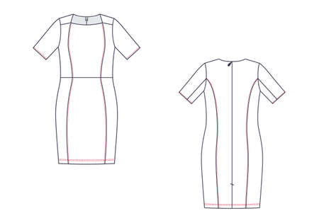 Vector fashion technical sketch of women middle dress. Illustration