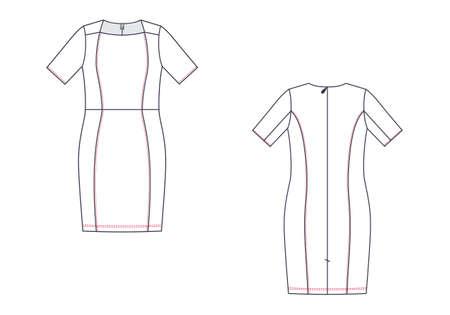 Vector fashion technical sketch of women middle dress. Çizim