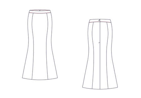 Maxi skirt vector template isolated on a white background. Front and back view. Outline fashion technical sketch of clothes model.