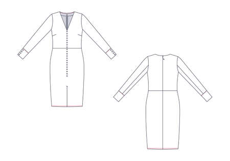 Technical drawing of woman dress. Front and back views.