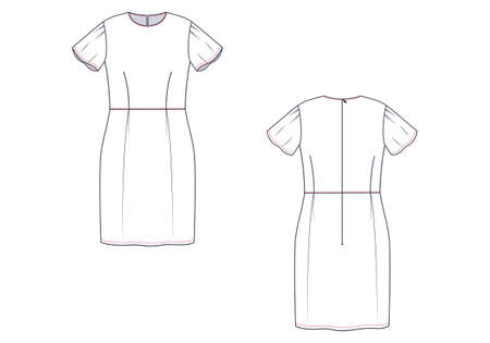 Technical drawing of woman sundress. Front and back views. Çizim