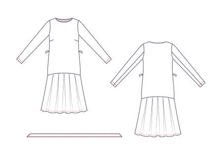 Technical drawing of wrap dress. Front and back views. Çizim