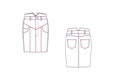 Denim skirt .Front view and back. On a white background. Vector illustration.