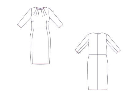 Technical drawing of dress. Front and back views.