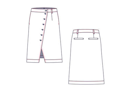 Female cut out denim skirt vector template isolated on a white background.