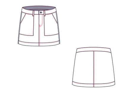 Mini skirt .Front view and back. On a white background. Vector illustration.