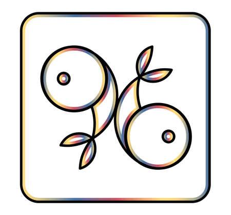 Zodiac signs. Horoscope. Pisces. Thick line icon. Çizim