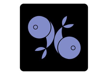 Zodiac signs. Horoscope. Pisces. Two fish, twin fish icon. Çizim