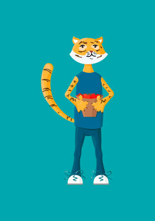 Cute tiger holding up a vase with vegetables