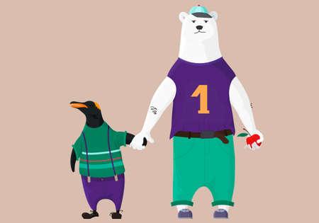 Vector Illustration of cute cartoon bear and penguin. Best friends. Hand drawn.