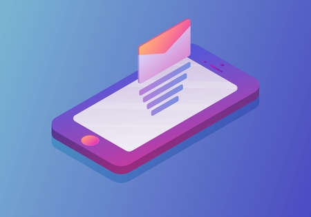 Isometric concept with smartphone and incoming messages.