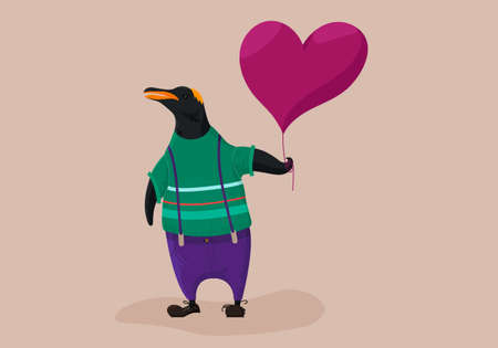 Cute hipster penguin holding balloon. Character illustration.