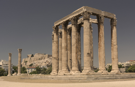 olympian: cityscape with view of the temple of Zeus and Acropolis in Athens