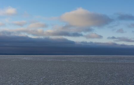 sea, Gulf of Finland, coast, covered with ice, snow, blue sky, horizon, winter, Russia
