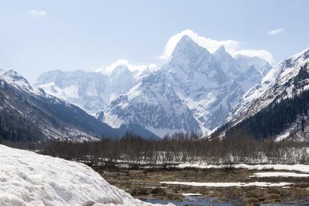 Caucasus mountains, winter mountain landscape, Central Caucasus range 2018