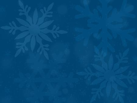 illustration, blue translucent snowflakes on blue background,