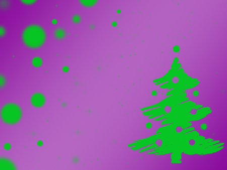 painted abstract green Christmas tree on a purple background, light green spots, illustration, abstraction