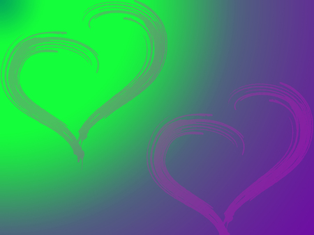2 pink hearts on green and purple background, Valentine's day, illustration,