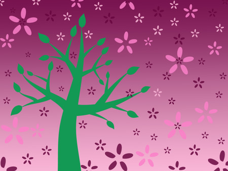 painted green tree on pink background, painted crimson and pink flowers, illustration Stok Fotoğraf