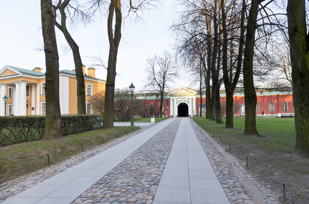buildings and path territory inside the Peter and Paul fortress in Saint-Petersburg in the spring