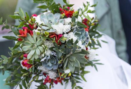 green Bridal bouquet with succulents, bouquet of flowers, wedding bouquet on a light background Reklamní fotografie - 122781135