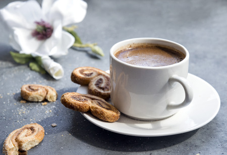 Cup of black coffee with cookies, Magnolia flower in the background on a gray background Reklamní fotografie - 122781233
