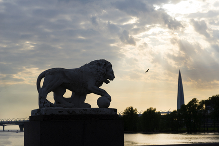 stone lion, tall building, bird in the sky on the background of Golden clouds in the contour light, the Embankment of the Gulf Of Finland of St. Petersburg at sunset,