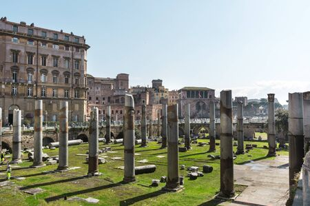 ancient ruins of the Trajan forum in Rome, Italy, Sunny day