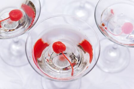 alcoholic drink, 3 glasses of champagne with red cherry, Reklamní fotografie