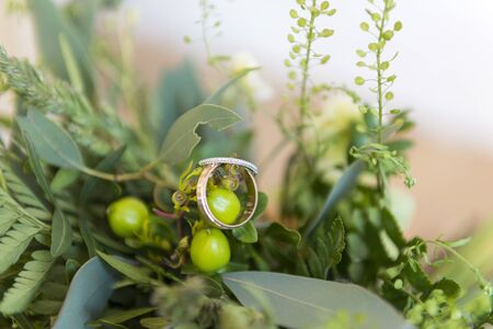 2 gold wedding rings on the green branch of the wedding bouquet Reklamní fotografie