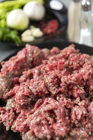 raw minced pork meat on a plate