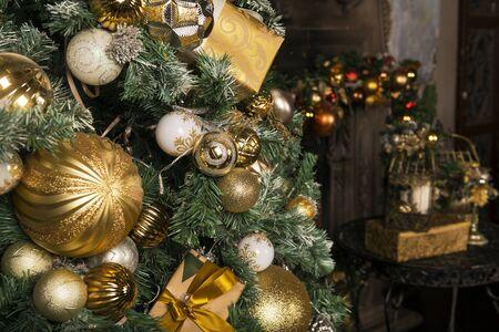 Golden and white balls on Christmas tree, Christmas decor