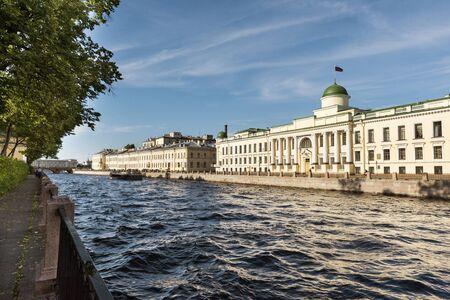 Buildings on the Fontanka river embankment in St. Petersburg, summer garden, landscape, Sunny summer day Reklamní fotografie