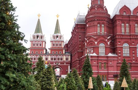 Moscow Kremlin ,the gate to red square, green spruce, winter Stok Fotoğraf