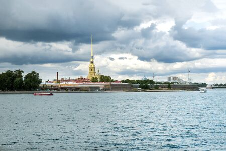 view of the Neva and Peter and Paul fortress, the sky with clouds, St. Petersburg