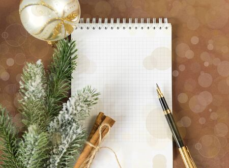 sheet white Notepad ,a quill pen, the label is 2019, the place of the decal, Christmas ball, fir branch, fir tree, cinnamon sticks on brown background,