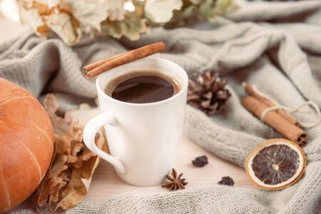 1 mug of hot black coffee with cinnamon stick on the background of gray sweater, yellow dry fallen leaves, red pumpkin, autumn