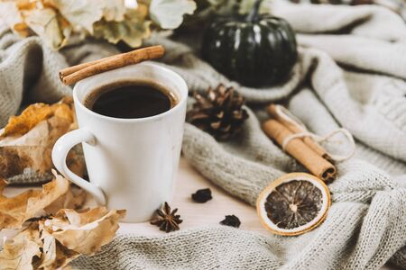 1 mug of hot black coffee with cinnamon on the background of a gray sweater, yellow dry fallen leaves, autumn Stok Fotoğraf