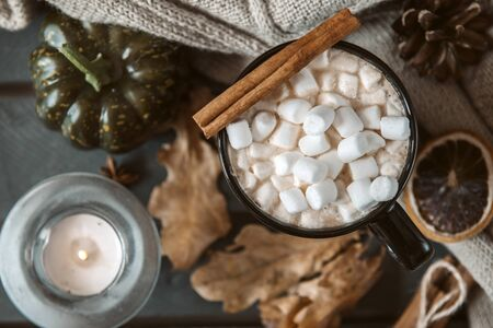 mug of hot coffee, chocolate with lots of marshmallows , cinnamon, small green pumpkin, candle , dry autumn leaves, cone, close with a knitted sweater on a black background, autumn hot drink Stok Fotoğraf