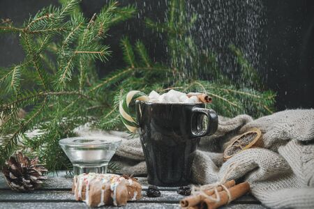 mug of hot chocolate with marshmallow, Lollipop and cinnamon, cookies, powdered sugar, on the background of fir branches, gray knitted sweater, Christmas spirit, hot winter drink