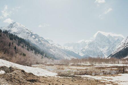 mountain valley,  Caucasus,  mountains, winter, snow,
